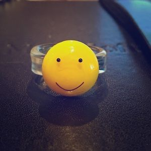 Smiley face ceramic ring 6.5-7